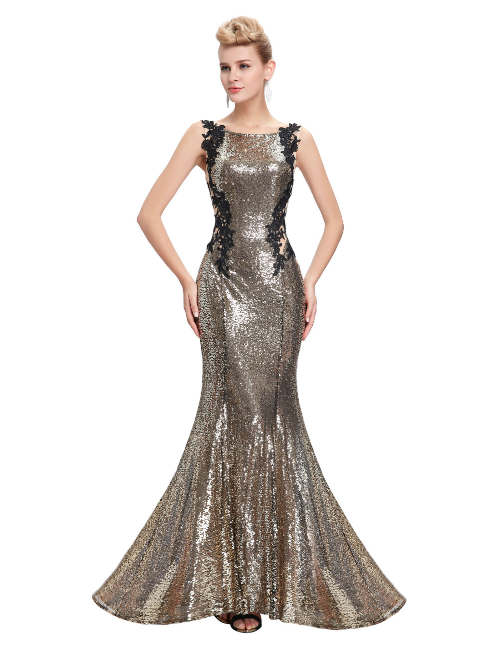 Kate Kasin Mermaid Bridesmaid Dresses Long Dress for Weddings Party Gown 2017 Grey Blue Black Sequin Bridesmaid Dress 0072 9