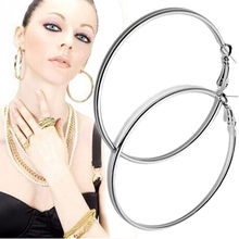 High Quality 1Pair Big Smooth big ears ring Clear Circle Round Hoop Charm Earrings Wonderful gift Drop Shipping(China)