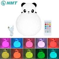 Panda Silicone LED Night Light USB Charge Les Enfants Lampe de Nuit Coloré LED Lampe De Chevet Nouveauté Lumière pour Chambre Bébé Jouet