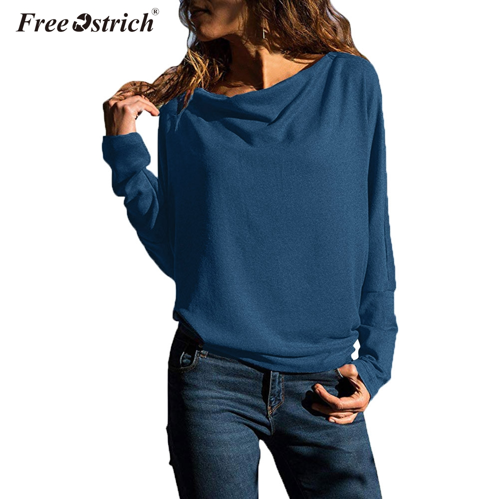 Free Ostrich Women Casual Solid Long Sleeve   Blouse     Shirt   women irregular collar Regular blusas chemise femme 2019 N30