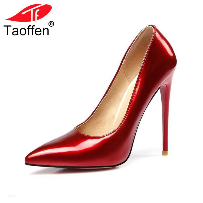 Women Fashion Pointed Toe Heels Shoes Woman Sexy Shallow Mouth Stiletto Woman Patent Leather Wedding High Heel Pumps Size 34-47 shoes woman pumps thin high heel 12cm shallow slip on wedding shoes patent leather pointed toe printing fashion sexy size 11 fsj