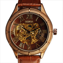 Esqueleto de lujo Reloj Hombres SEWOR Classic Retro Romano Dial Relogio masculino Vintage Vestido de Cuero Relojes Mecánicos Automáticos
