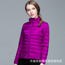 2017  Ms. winter new fashion casual long sleeve jacket / Woman's solid color warm thin down jacket coat