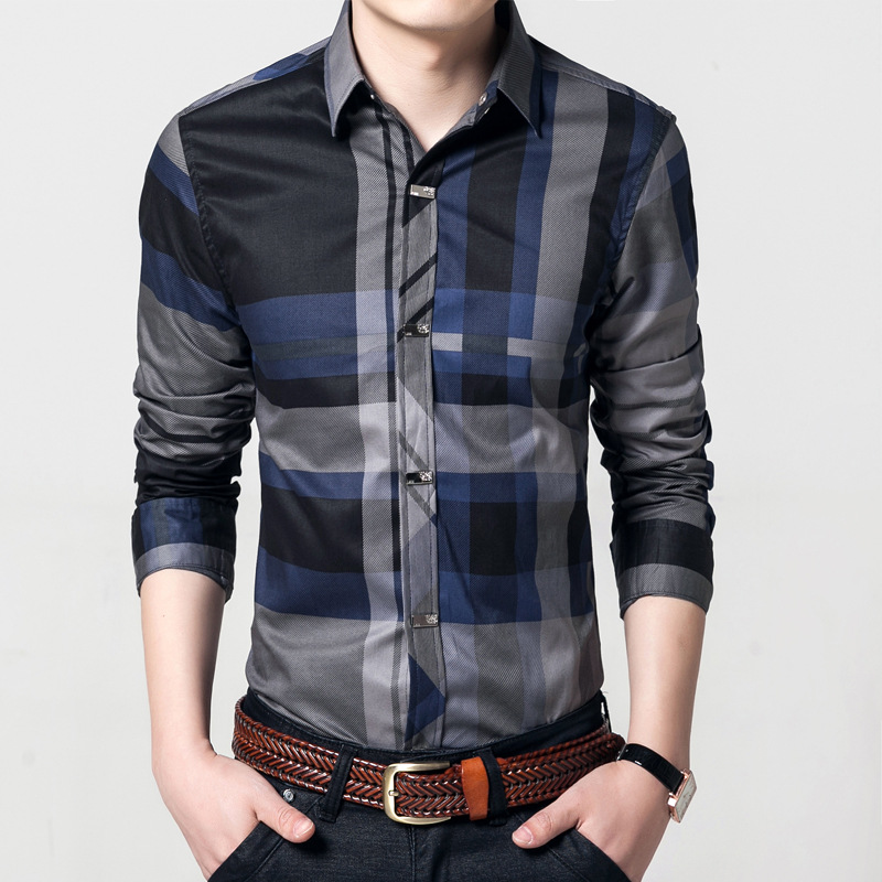 Quality Metal Button Men Cotton Shirt Mens Business Casual Shirts Brand Clothing Slim Fit Plaid Long Sleeve Camisa Masculina 1