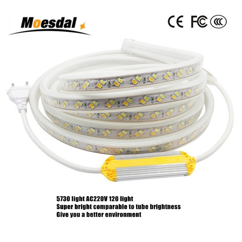 Moesdal 5730 LED Strip AC220V Flexible Light 120 leds/m Waterproof Tape Light With Power Plug 1M-100M