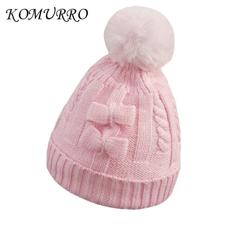 74f029ab557 Detail Feedback Questions about Winter Knitted Baby Hats Girl Boy Beanies  Sweet Solid Hat With Bow knot Pompoms Balls Kid Caps For Baby Girl Warm Soft  Hat ...