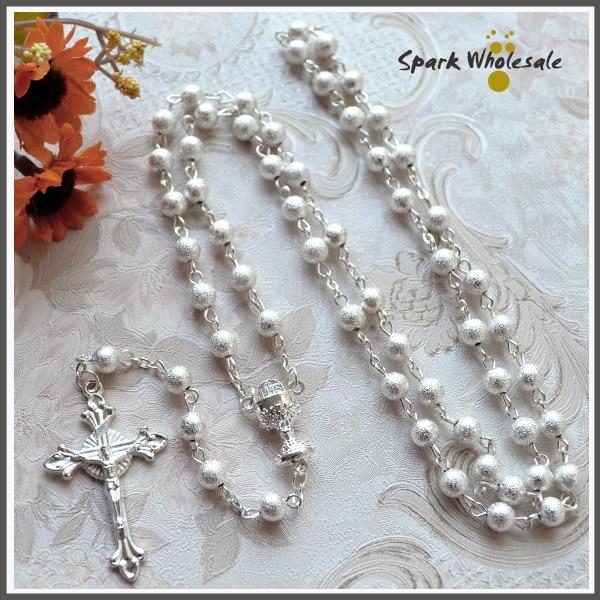 4c85a2e6bf3e Rosario Católico de plata de 6mm collar de Rosario de cobre Cruz religiosa  collar de Rosario de boda para mujeres sagradas