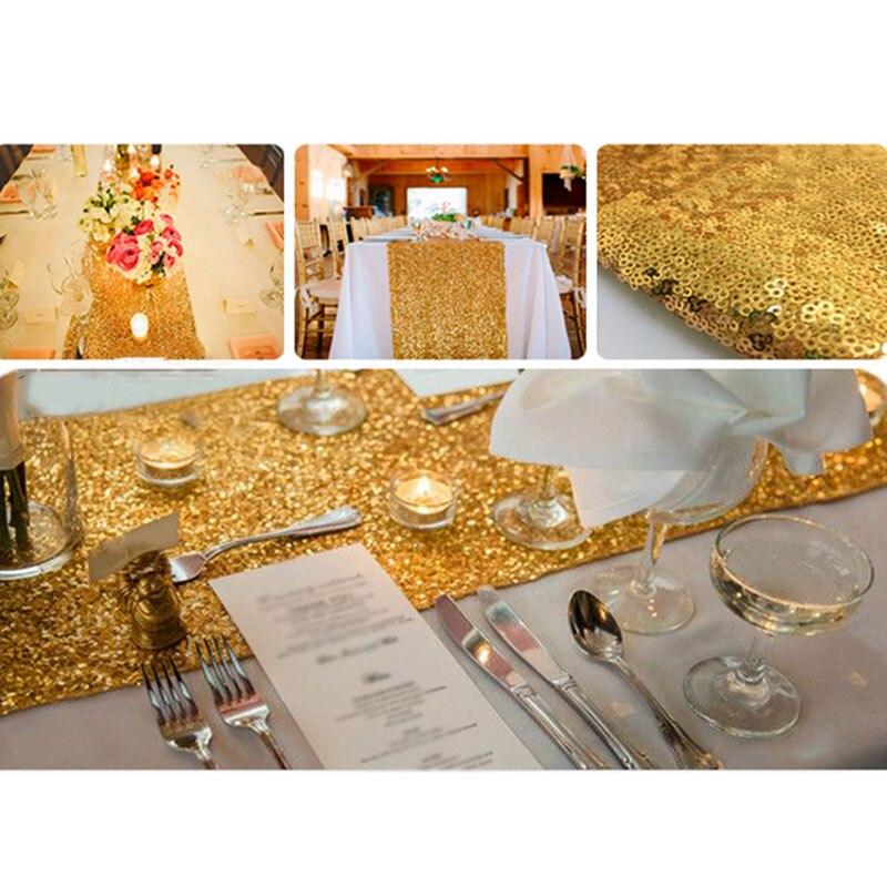 Романтическая 30x180 см блестящее розовое золото, с пайетками настольная дорожка для свадебной вечеринки Рождественская скатерть для стола украшения - Цвет: Gold