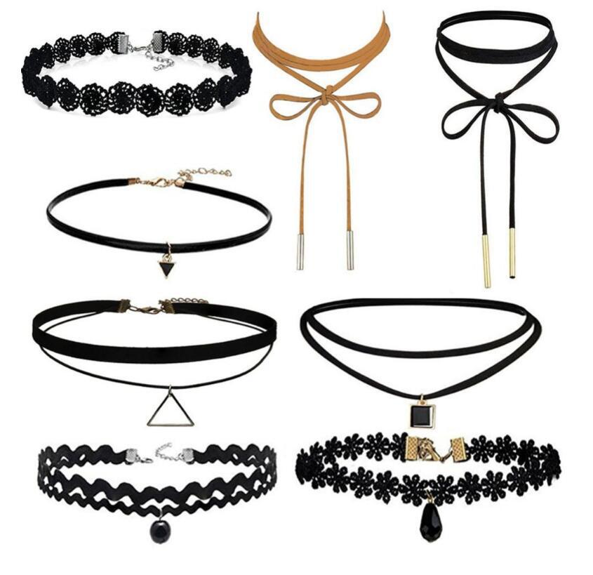 Chokers Necklaces for women 8Pcs/Set Fashion Black Velvet Flannel Cloth Chokers Maix Short Chocker Collares Jewelry Wholesale ...