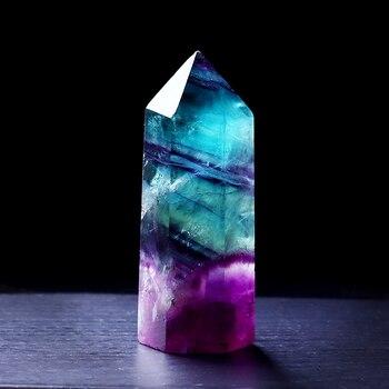 1 Pc Fluorite Naturale Esagonale Colonna di Cristallo Punto di Guarigione Bacchetta Minerale di Cristallo Decorazione Della Casa di Pietra Decorazione Della Stanza di Studio 1