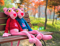 large pink panther plush toy dressed cloth panther doll toy birthday gift t9013