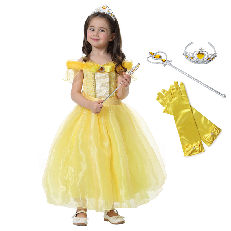 Little Girl Cosplay Princess Belle Dress Beauty and The Beast Kids Dress up Party Hallowen Birthday Drama Photograph Costume disney decoration birthday gifts beauty and the beast the little prince glass cover fresh preserved flowers rose children toys