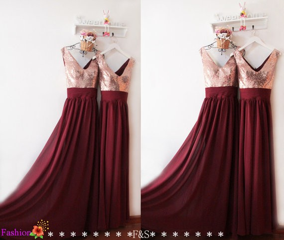 Real Samples Burgundy Bridesmaid Dress with Champagne