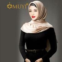 Muslim Fashion Hijab Women Head Scarf Islamic Hijabs Satin Headcoving Bandana Rectangle Wrap Silky Shawl Turban Dubai Veil Black
