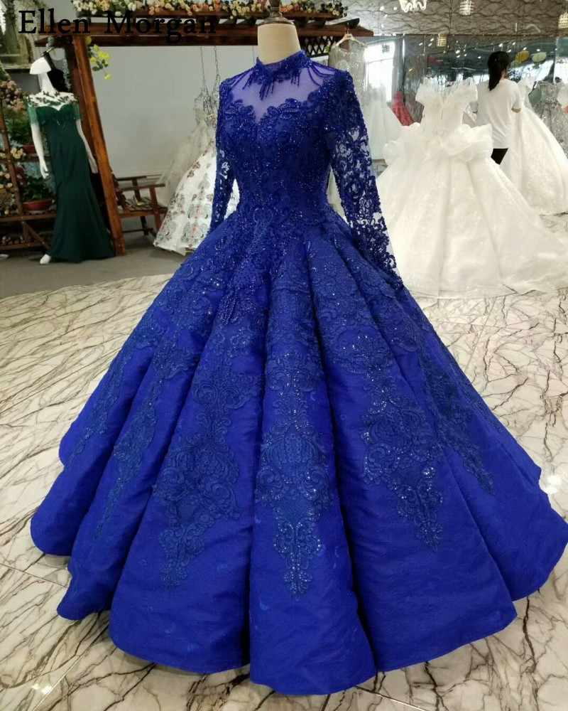 Royal Blue Long Sleeves Wedding Dresses 2019 For Women Lace Up