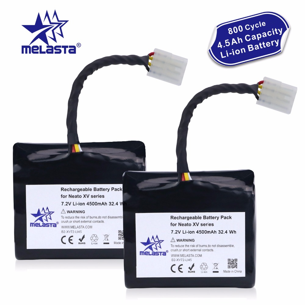 Melasta 2Pack 7 2V 4 5Ah Li ion Battery for Neato XV XV 21 XV 11