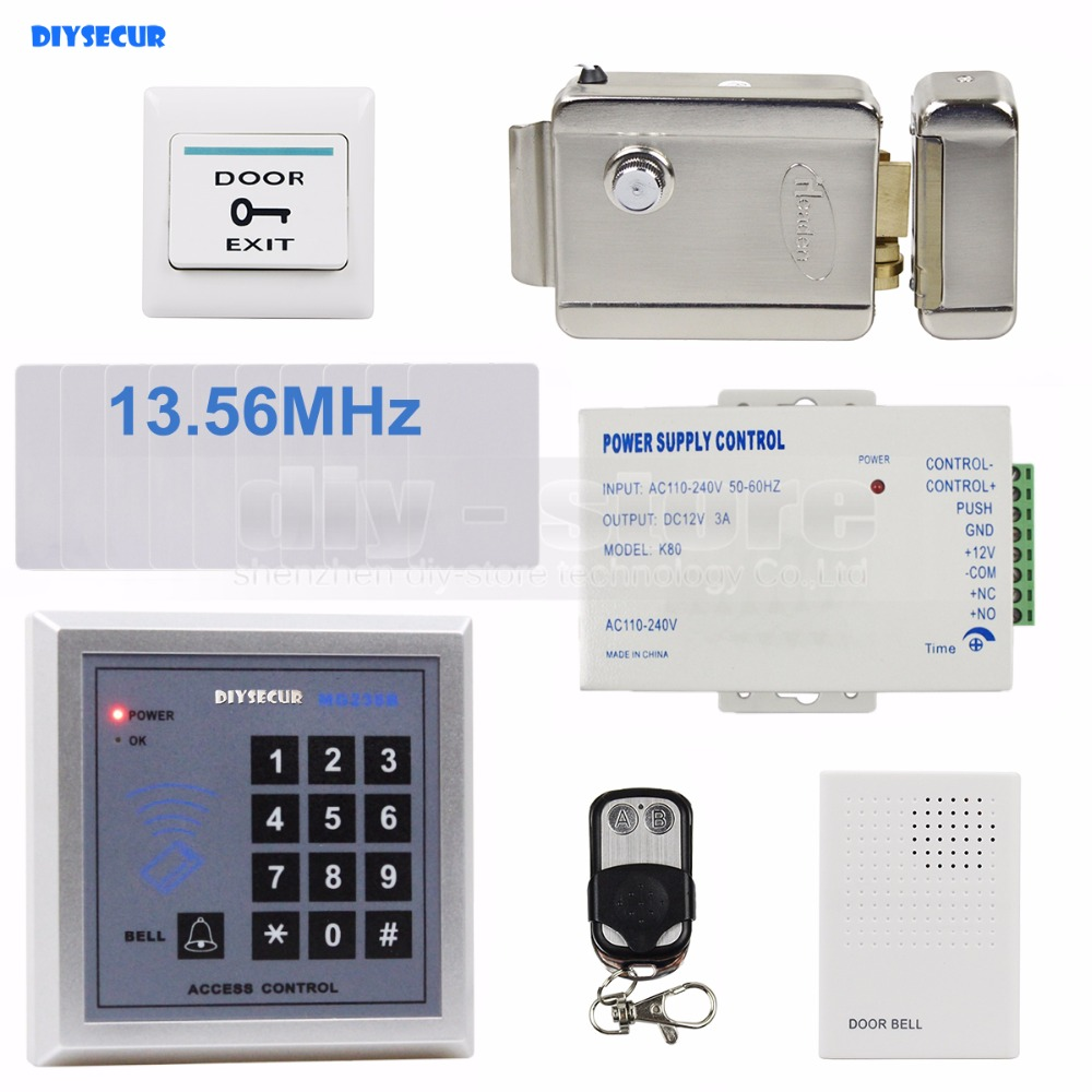 DIYSECUR Door Bell RFID 13.56 MHz IC Card Reader Keypad Access Control System Security Kit + Electric Lock + Remote Control lpsecurity battery powered 12vdc 13 56 ic rfid reader electric gate door lock access control system kit with 10tags or tm tag