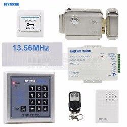 DIYSECUR dzwonek do drzwi RFID 13.56 MHz czytnik kart IC klawiatura System kontroli dostępu bezpieczeństwa w + zamek elektryczny + pilot zdalnego kontroli