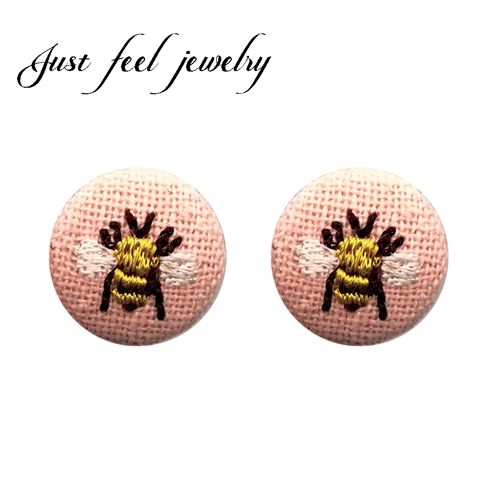 JUST FEEL Brand Bee Flower Cloth Round Embroidery Stud Earrings Hand Stitching Framing Hoop Winter Fashion Earrings Jewelry Gift