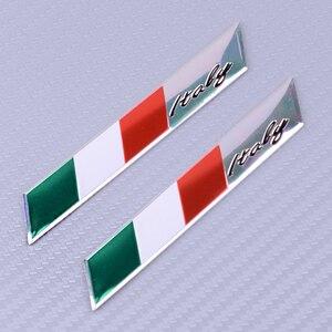 CITALL 2Pcs 3D Aluminum Italy Flag Fender Trunk Emblem Badge Sticker Fit for Alfa Romeo FIAT Car Accessories