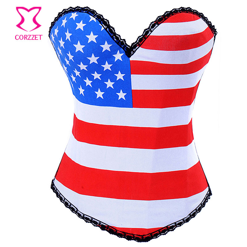 American / British Flag Printed   Corset   Corselet Overbust Cotton Push Up   Bustier   Top Women Corpete Sexy   Corsets   and   Bustiers