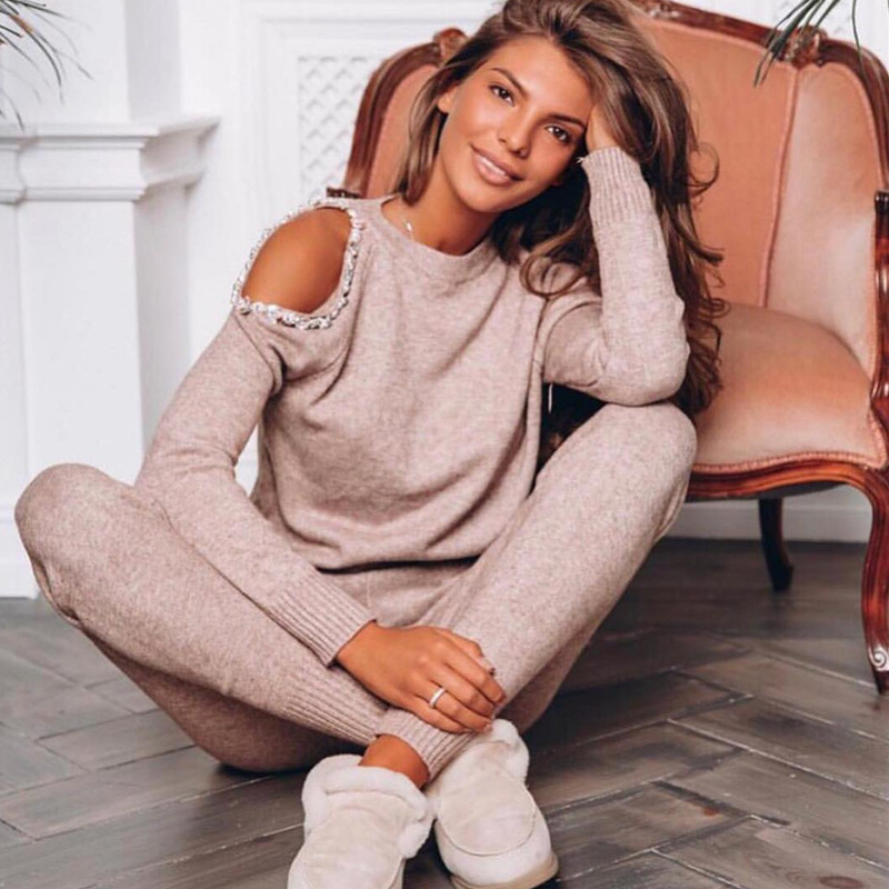 Women Sweater Pearl leaking shoulder Casual 2 Piece Sweat Suit Diamond Shoulder Knit Pants + Jumper Top Costume Clothing Set jeans con blazer mujer