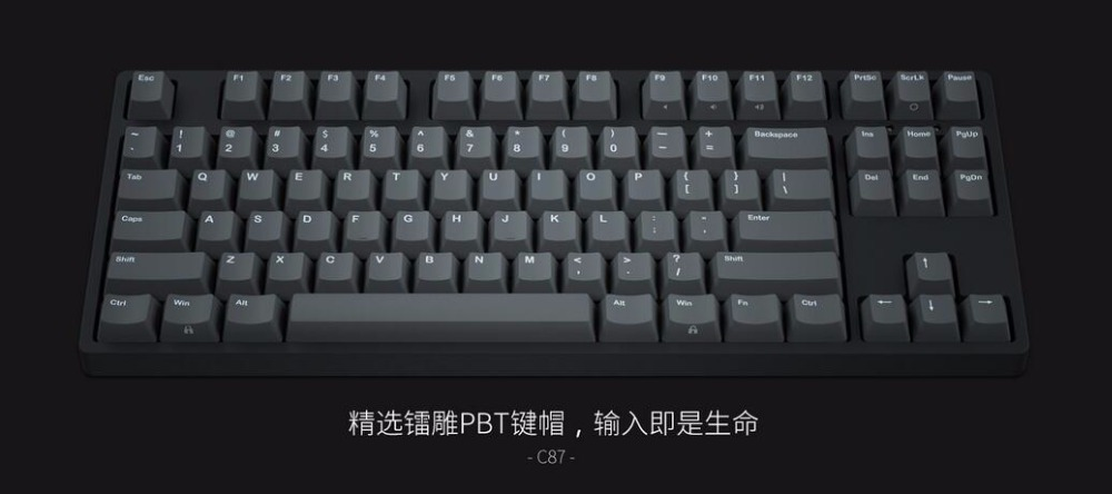IKBC C87 TKL mechanical keyboard tenkeyless C87 PBT keycap cherry mx silver switch brown speed non-backlit gaming keyboard