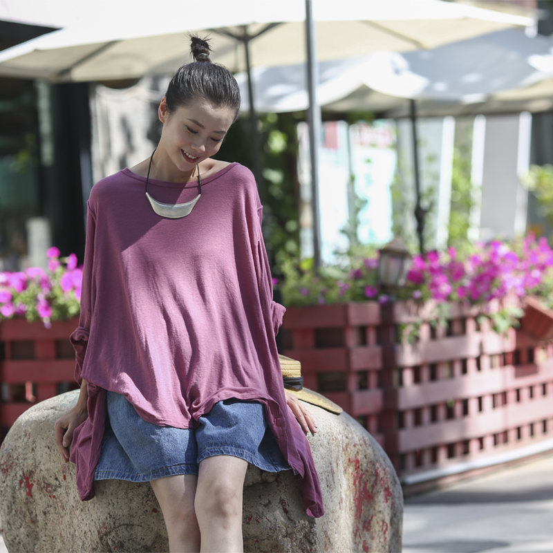T8616 Artistic large size round neck pullover short sleeve shows thin linen T shirt female