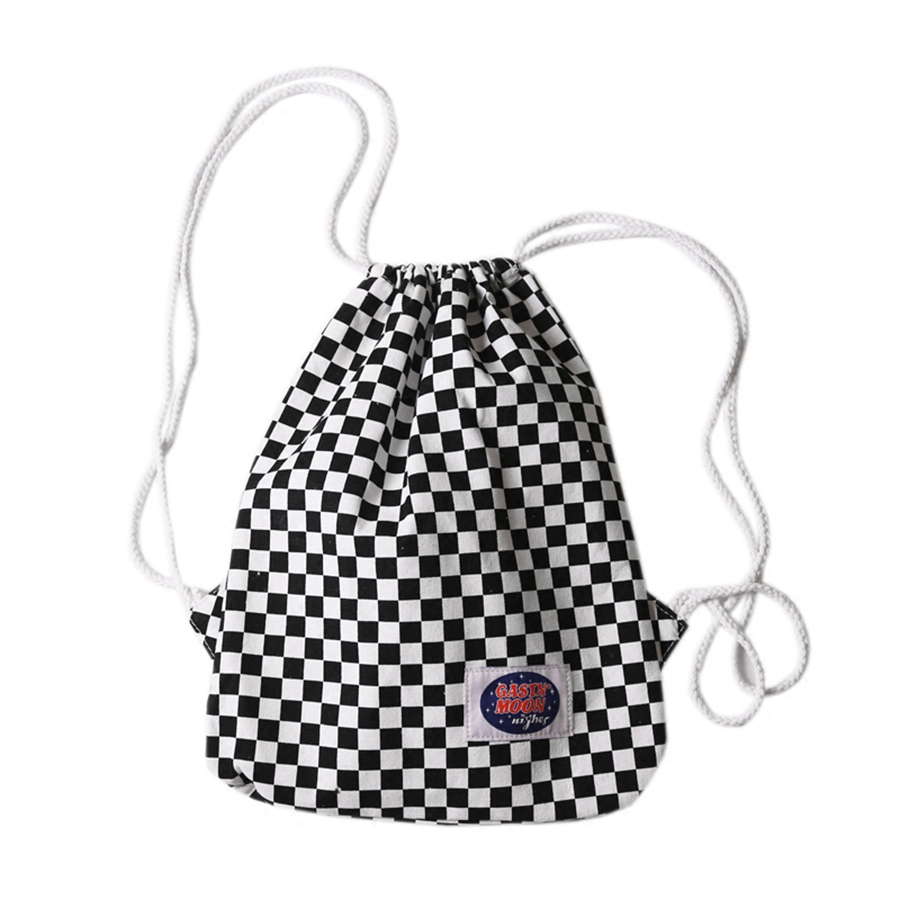 Canvas Drawstring Bag Plaid Women With Pocket Backpack Small Bag School Travel Size Bolsos Rucksack Draw