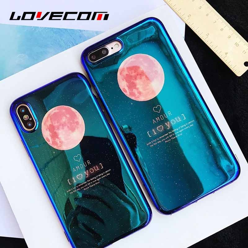 LOVECOM Glossy Blue-ray Pink Moon English Letter Phone Case For iphone X 8 7 6 6s Plus Soft IMD Silicone Phone Cover Cases Funda
