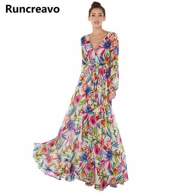1ceb53529 2018 Multi Women Floral Maxi Dresses Boho Beach V Neck Long Sleeve ...
