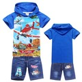 Summer 2014 NEW Arrival Brand boys suits children Clothing Sets Dusty Plane kids hoody+Jeans Summer boys clothes sets wholesale