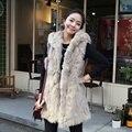 2016 Abrigo de Piel de Imitación Chaleco de Abrigo Mujer Plus Tamaño XXXL Largo estilo Sin Mangas Con Cuello En V Chaleco de Piel Sintética de Invierno de Las Mujeres Chaquetas Abrigos T0046