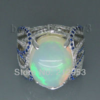 Vintage Oval 12x15mm 18Kt White Gold Natural Diamond Opal Ring For Sale SR319