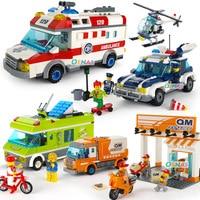 Urban Building Blocks Police Station Post Office Figures Compatible LegoING City Enlighten Bricks Toys For Children Trucks Gift