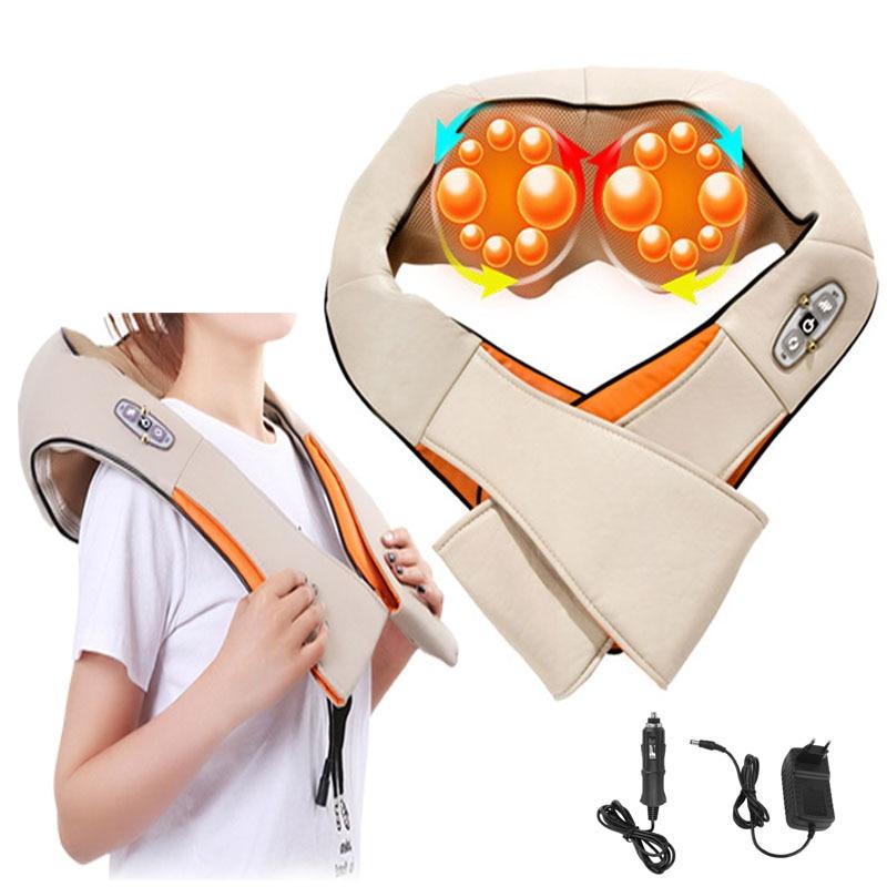 Shiatsu Roller Back Shoulder Neck Muscle Massager Body 16 Massage Ball Shawl Spine Belt 4D Infrared Kneading Massager Car Home