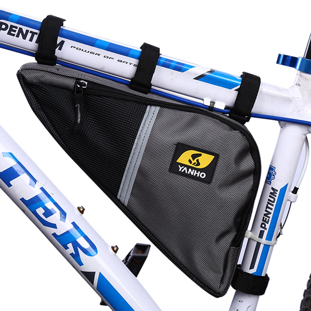 <font><b>Yanho</b></font> Water Resistant Bicycle Triangle <font><b>Bag</b></font> Frame Front Tube Oxford Fabric Cycling <font><b>Bike</b></font> Zipper Pack With Shock-Absorbing Sponge image