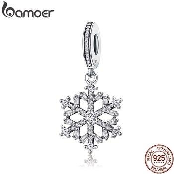 BAMOER 高品質 925 スターリングシルバー雪の結晶チャームフィットオリジナルブレスレット女性ペンダントジュエリーメイキング SCC266