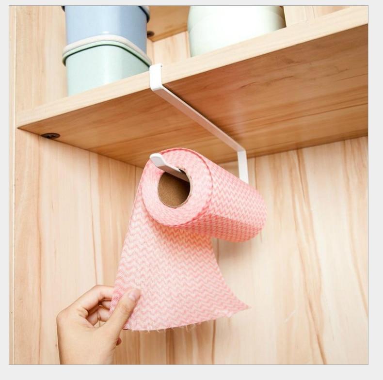 Wall Mounted Kitchen Paper Holder Towel Rack Bathroom Shelf Toilet Sink Door Hanging Organizer