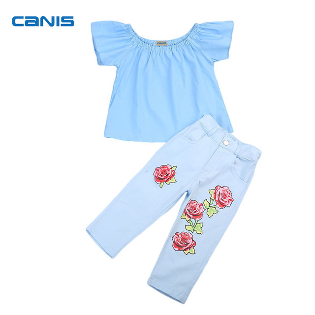 dd0e6ccda CANIS Kids Baby Girl Clothing Set Sexy Off Shoulder T Shirt Tops+ ...