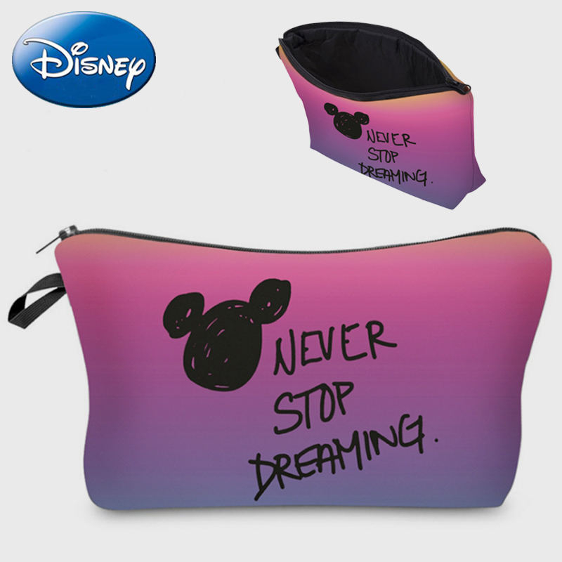 Disney Women Cosmetic Bag 2019 New Mickey Mouse Minnie Mummy Bags Portable Girls Wallet Make Up Box Coin Polyester Cartoon Purse