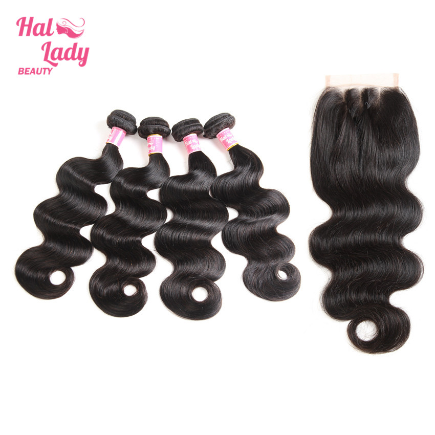 Halo Lady Beauty 4 Bundles Peruvian Body Wave Human Hair with Closure Three Part Lace Top Closure 8 to 30 inches Remy Hair Wefts