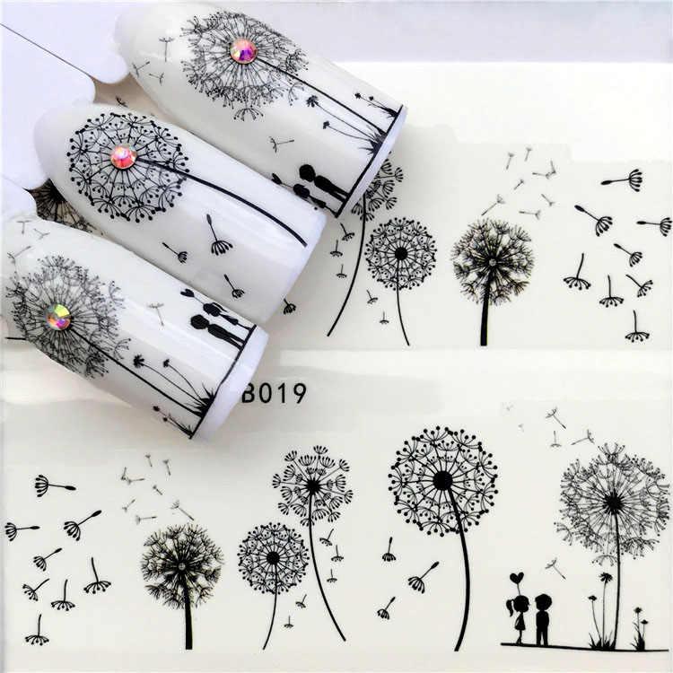 Nail art stickers Water transfer printing Fingernail decoration Black Manicure Design Fashion DIY Applique Dandelion
