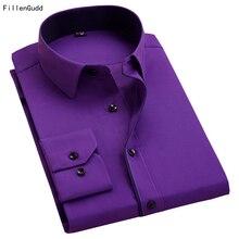6e7557c08 Fillengudd قمصان المرقعة طوق كم طويل سليم صالح رجال الأعمال عارضة الرجال  الاجتماعي بلوزة بنفسجي النبيذ الأبيض أسود وردي الأحمر