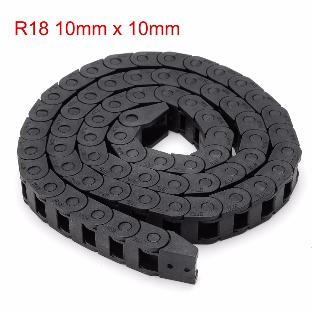 New R18 10mm x 10mm 1m Length Plastic Cable Drag Chain Wire Carrier with End Connector for 3D Printer CNC Router Machine Tools 1pcs 15x30mm r28 cable drag chain wire carrier with end connector 15mm x 30mm l1000mm 40 for 3d cnc router machine brand new