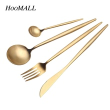 Hoomall 24Pcs/Set Stainless Steel Dinnerware Sets Cutlery Tableware Silverware Colorful Creative Dinner Set Home New Year Gifts