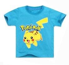 купить Summer Children Kids Short Sleeve T-Shirts Cotton Cartoon Pokemon Go Print Boys Girl Tops Tee Pikachu T Shirts Baby Boys Clothe дешево