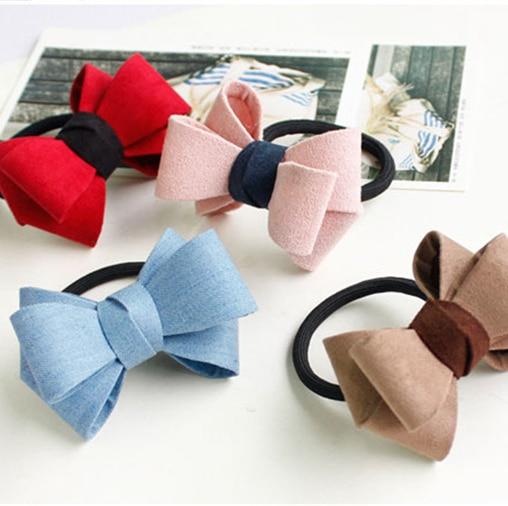 Fashion Women  Hair Accessories Girl kids Elastic Hair Bands Bowknot Bunny Headband Rabbit Ear Hair Ring Ponytail Holder