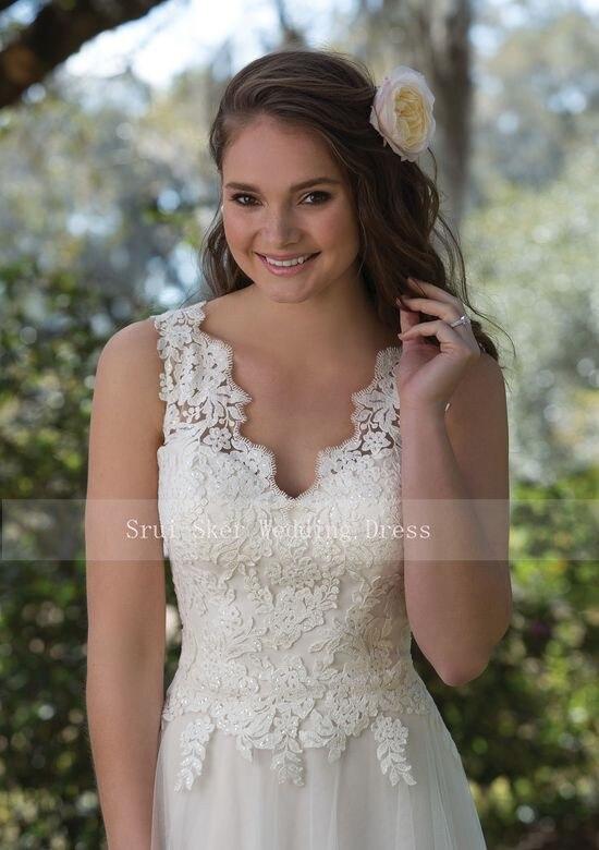 Image 2 - Charming V Neck A Line Lace Wedding Dress White/Ivory Illusion Back Tulle Wedding Bridal Gowns Long Dress-in Wedding Dresses from Weddings & Events