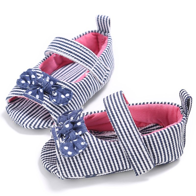 Summer Striped Bow Princess Baby Girls Cotton Shoes Kid Gift Toddler 0-18M